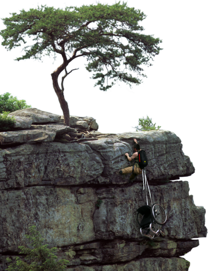 disabled man climbing a cliff